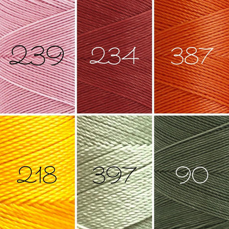 LINHASITA社製ワックスコード<取り扱い34色> 0.5mm (ロウビキ紐 蝋引き紐 waxcord) お好きな12本セット