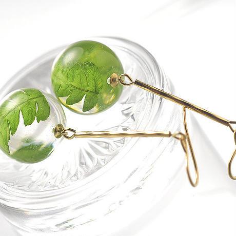 シダの葉 グロブのピアス14Kgf /イヤリング