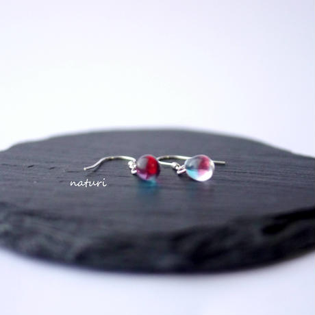 【rosee】glass drop pierce blu/red (2pcs)