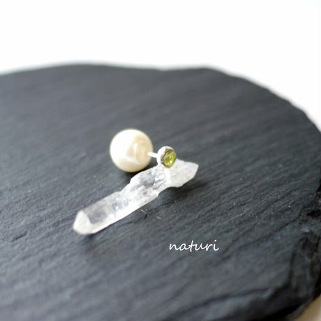 【noix】sv925 peridot pierce with pearl catch (1pc)