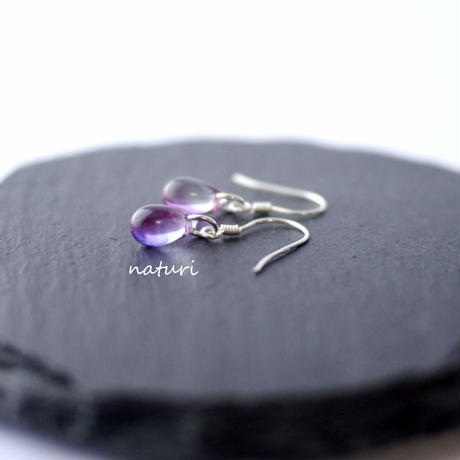 【rosee】glass drop pierce purple (2pcs)