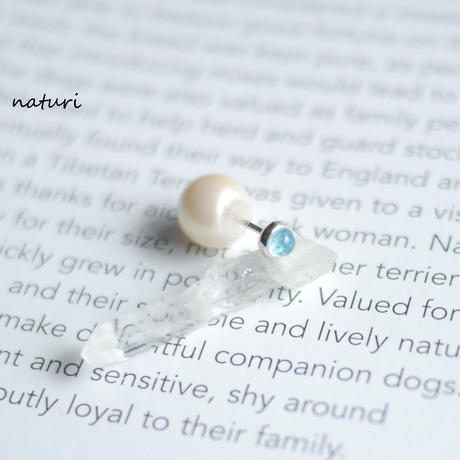 【noix】sv925 blue topaz pierce with pearl catch (1pc)