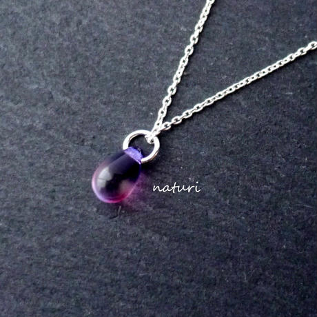 【rosee】glass drop necklace purple