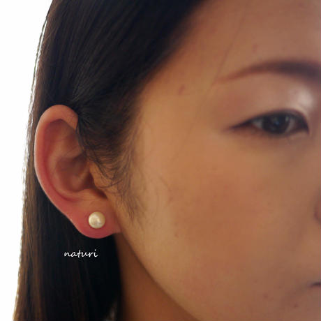 【noix】sv925 pink coral pierce with pearl catch (1pc)