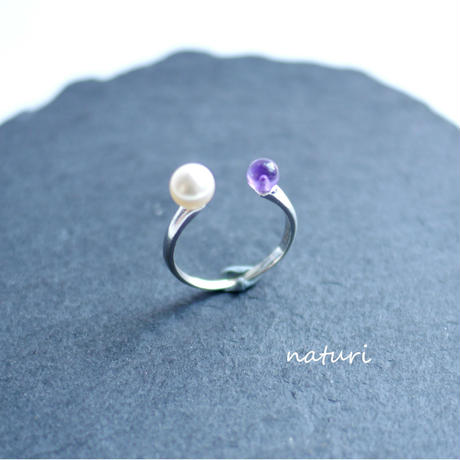 【pianeta】sv925 pearl × amethyst ring