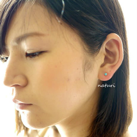 【noix】sv925 turquoise pierce with pearl catch (1pc)
