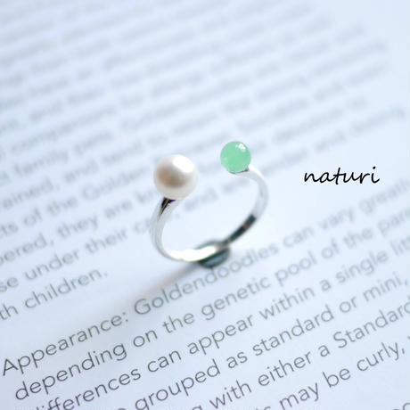 【pianeta】sv925 pearl × jade ring