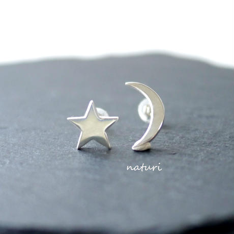 【luna】sv925 moon pierce (2pcs)