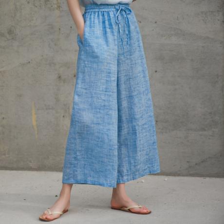 夏桜*オリジナルラミー(リネン)ワイドパンツ ゆったり ホリデーカジュアルパンツ ns190701-22