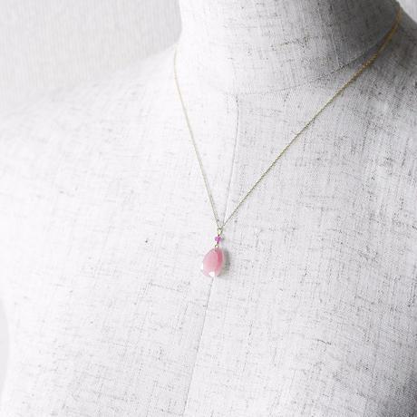 天然石ネックレス/ピンクサファイア