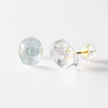 天然石ピアス/アクアマリン&クォーツ結晶