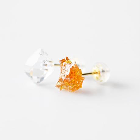 天然石ピアス/ポリッシュ・ジンカイト原石&ハーキマーダイヤモンド