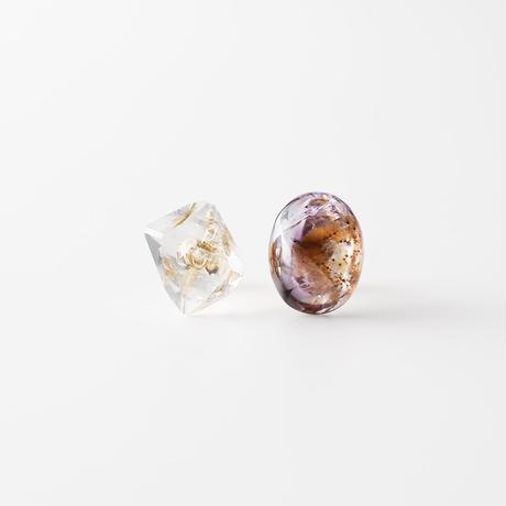 天然石ピアス/カコクセナイト&クォーツ