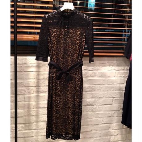 nd-830/13 リバーレース スタンドカラーリボンBKドレス