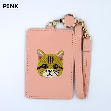 猫刺繍パスケース