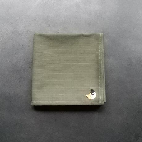 NECOREPA 刺繍ハンカチNo18 モスグリーン三毛