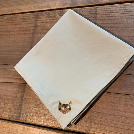 NECOREPA 刺繍ハンカチNo17 ベージュ茶トラ