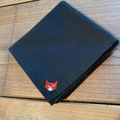 NECOREPA 刺繍ハンカチNo25 ブラックりんご猫