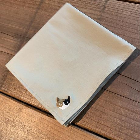NECOREPA 刺繍ハンカチNo26 ベージュ三毛