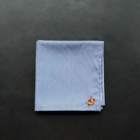 NECOREPA 刺繍ハンカチNo16 ブルーストライプ茶トラ【Kura】