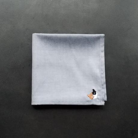 NECOREPA 刺繍ハンカチNo23 サックス三毛