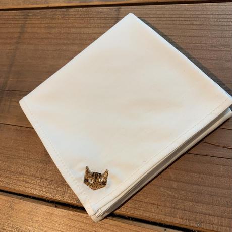 NECOREPA 刺繍ハンカチNo14 ライトベージュ茶トラ