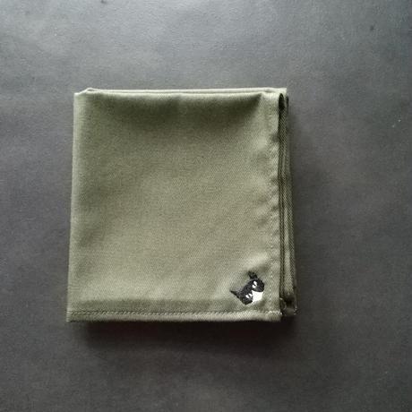 NECOREPA 刺繍ハンカチNo6 オリーブハチワレ