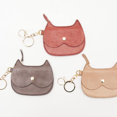 CAT  FACE    SMALL    PURSE    GRAY