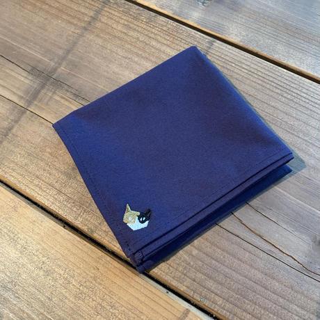 NECOREPA刺繍ハンカチNo1 ロイヤルブルー三毛