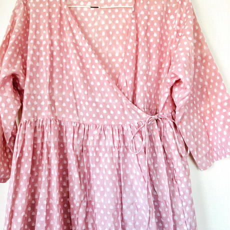 pink dot  block print kashcourt  dress