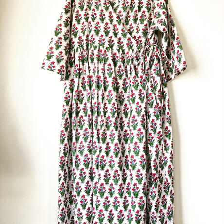 Pink flowers block print kashcourt  dress