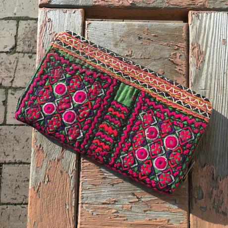 アフガニスタン刺繍  長財布ピンク