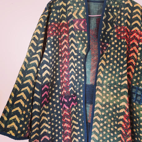 vintage Indigo  kantha long coat ⅲ