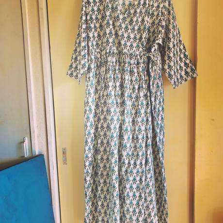 blue gray block print kashcourt  dress