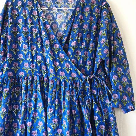 blue&pinkpurple block print kashcourt  dress
