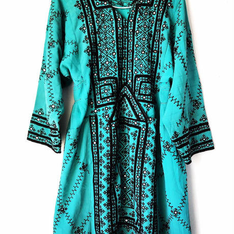deep blue green baloch dress