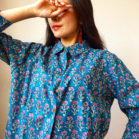 block print blue shirt flowers