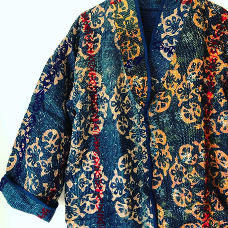 vintge Indigo kantha long  coat ⅰ
