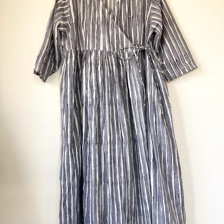 Gray stripe block print  kashcourt  dress