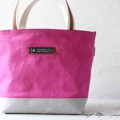 帆布と人気の『PVC素材』を合わせた普段使いトート(ピンク)