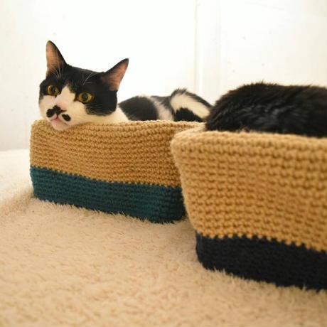 麻の猫ボックス【オーシャンブルー】