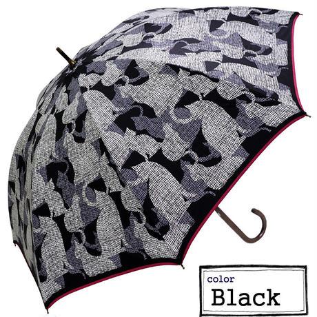 日傘★晴雨兼用 猫(ねこ)シルエット柄ショート手開き傘♪【UV対策】99%カット♪