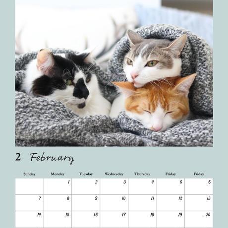 双子猫アメリ・カヌレのにゃんともなかよしカレンダー2021