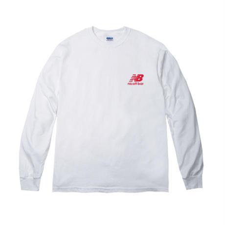 【期間限定受注販売】NB-LOGO Long Sleeve TEE  [WHITE] /NICOtt bar 【12月28日〜1月8日まで】