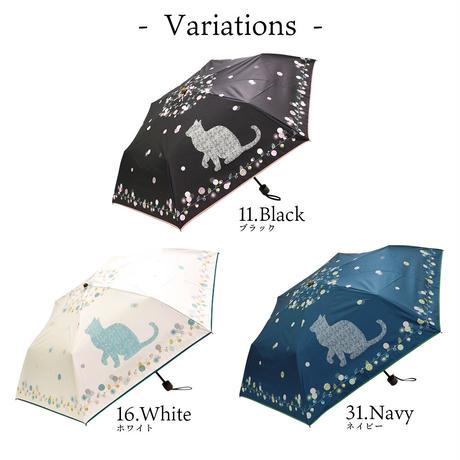 【3/5再入荷】折り畳み傘│ビッグ猫柄(晴雨兼用・UVカット・遮光)ネイビーのみ