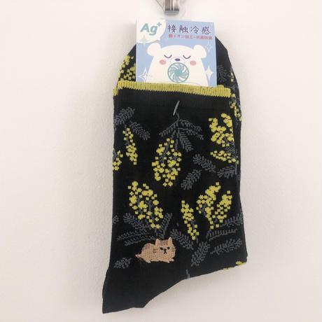 【2/11新入荷】靴下 │ ミモザと猫 銀イオン加工 抗菌防臭