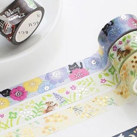 マスキングテープ │ 水彩画タッチ  箔押し 黒猫×アネモネ