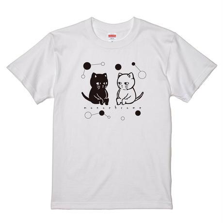 [猫郎雑貨店]Tシャツ オリジナル猫柄プリント 綿100% 5.6オンス メンズ モノクロネコ 白