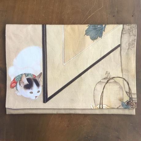 御朱印帳袋 猫鼠を覗う図 板橋区立美術館 袱紗型
