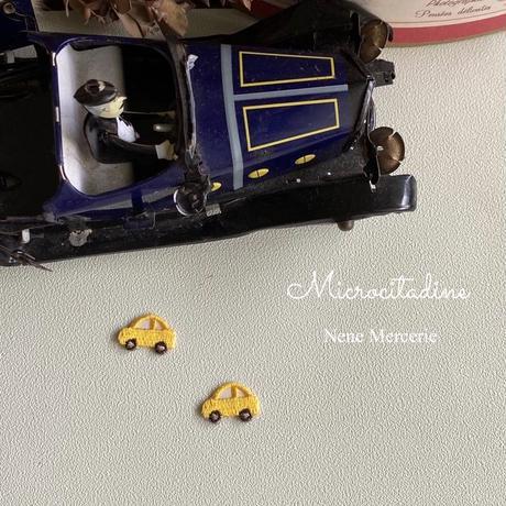 ミニカー/イエロー/2枚セット/刺繍アイロンワッペン